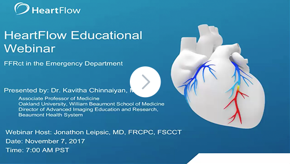 Screenshot from the HeartFlow 'FFRCT in the Emergency Department' Webinar, indicating a link to click to watch the video