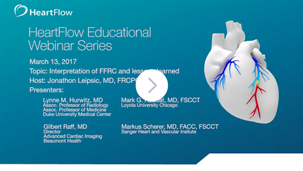 Screenshot from the HeartFlow 'Interpretation of FFRCT and Lessons Learned' Webinar, indicating a link to click to watch the video