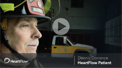 A firefighter and a car and video play button at middle