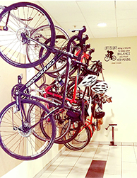 Bikes hanging on a wall