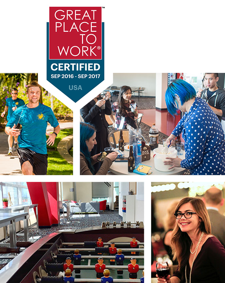 Collage: Great Place To Work certified badge (Sep 2017 - Sep 2018); someone running; people cooking; foosball table; smiling lady with wine
