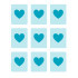 A simple picture shows hearts in squares