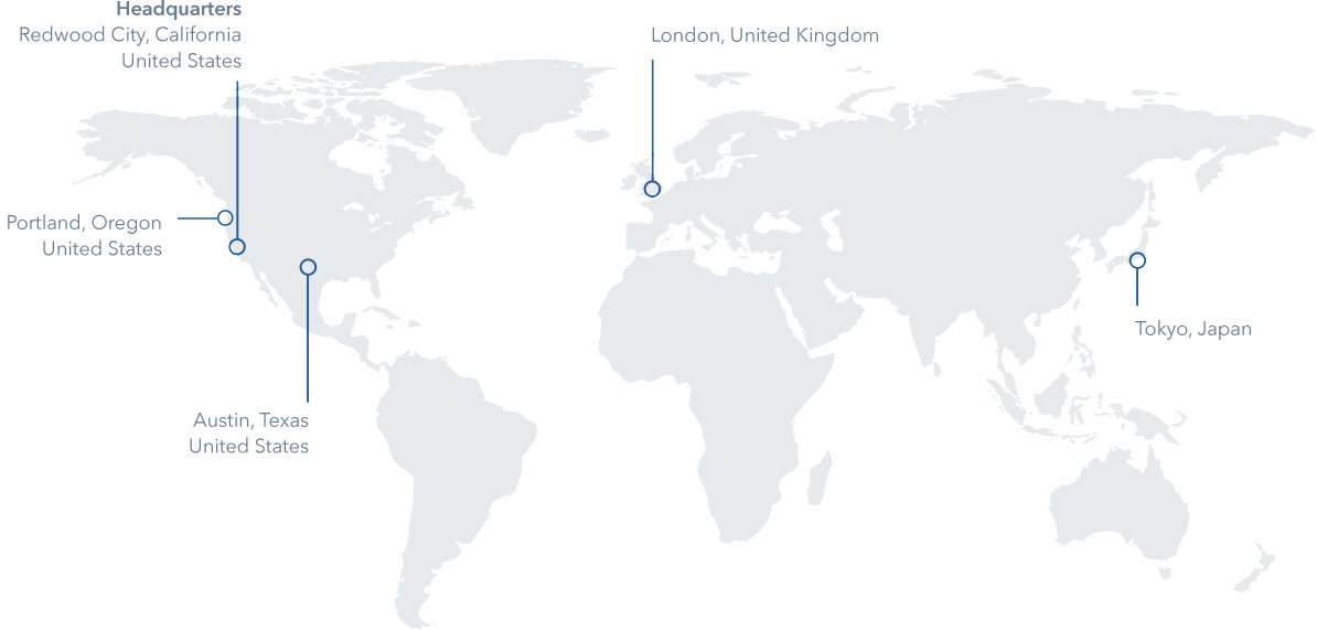 World map showing HeartFlow offices in London, Tokyo, and Austin, and the Headquarters in Redwood City, California